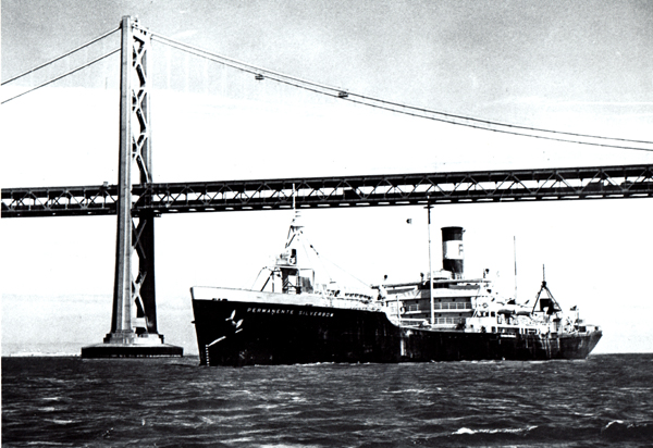 SS Permanente Silverbow steaming under SF-Oakland Bay Bridge, 1950-04-17; photo R7-13